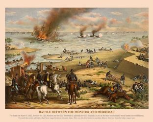 Battle between the Monitor and Merrimac, March 9th 1862